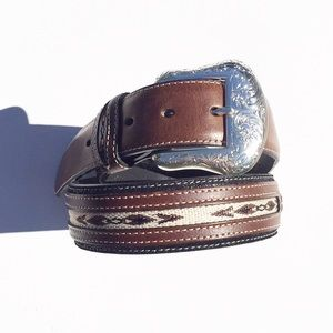 Accessories - Nocona Western Tapestry Ribbon Inlay Leather Belt